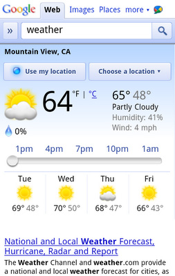 Google Weather Mobile Website