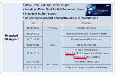MWC Timetable Samsung Galaxy S2 Seine
