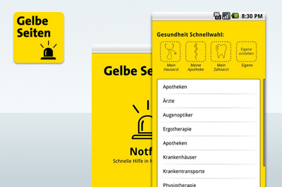 Gelbe Seiten Notfall-App Teaser